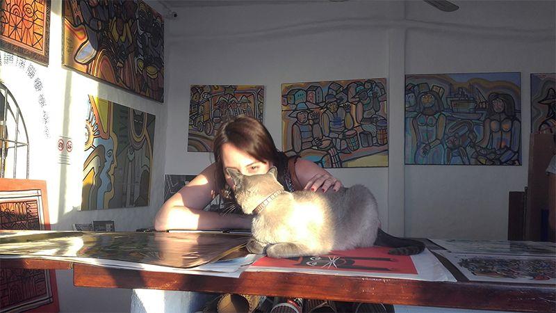 El gato del artista fue retratado más de una vez en sus coloridas obras.