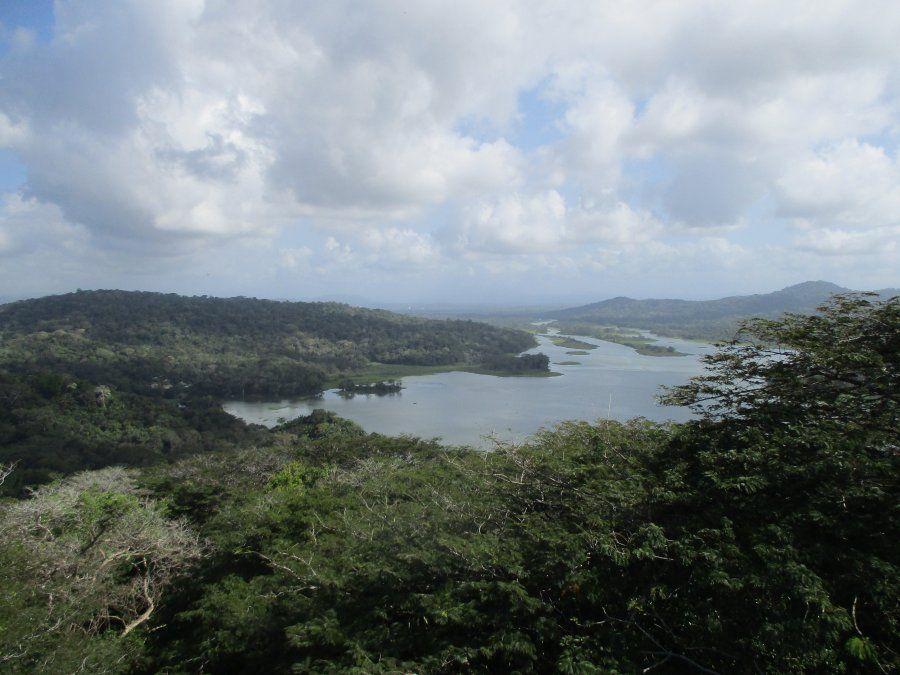 Desde el mirador del Parque Nacional Soberanía se ve como el río Chagres que desemboca en el lago Gatún.