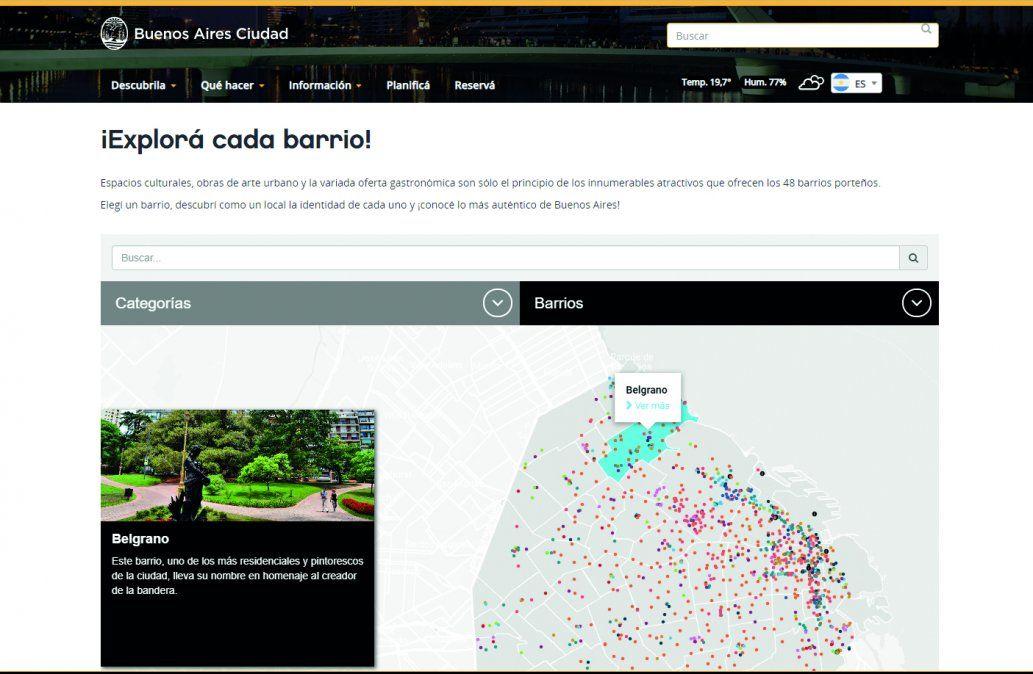 Un mapa interactivo para conocer los nuevos puntos turísticos de la Ciudad de Buenos Aires.