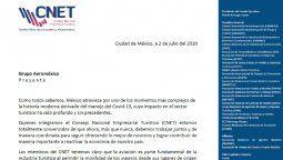 CNET apoya la continuidad de Aeroméxico.