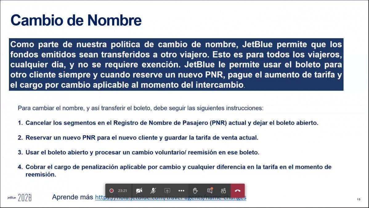 Políticas de Jetblue durante webinar