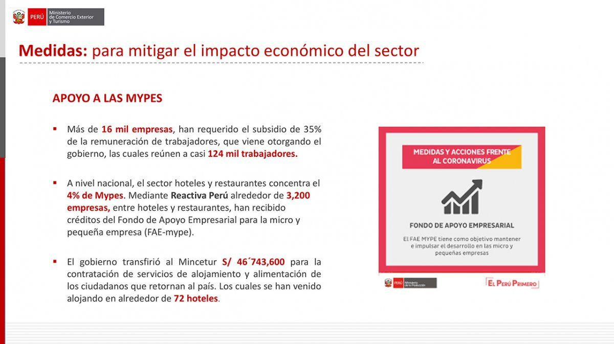 Vásquez expuso que se han ayudado a empresas a través de fondos de créditos, a pesar de que muchas empresas de turismo han denunciado no tener acceso.