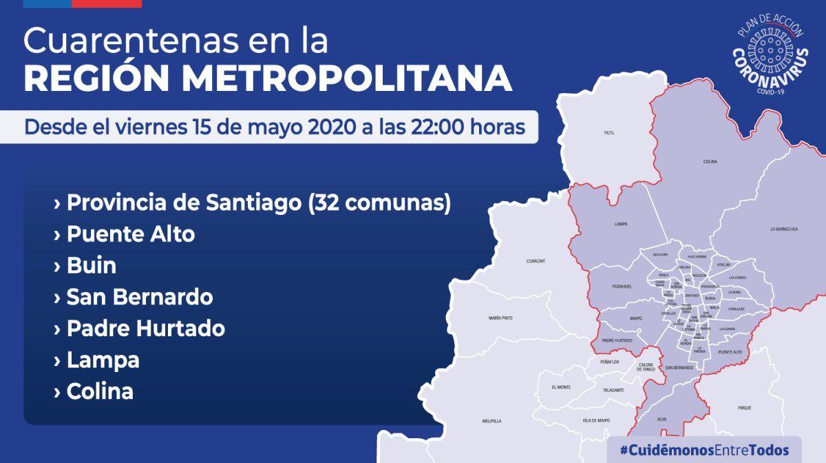 Decreta cuarentena total para el Gran Santiago y sus alrededores