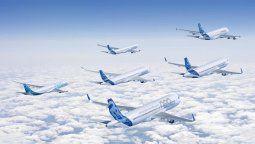 Retrato familiar completo de todos los aviones comerciales de Airbus