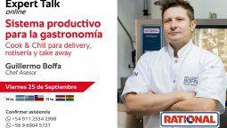 Rational presenta un Expert Talk onlineSistema productivo para la gastronomía-Cook & Chill para delivery, rotisería y take away, a cargo del chef asesor Guillermo Boffa.