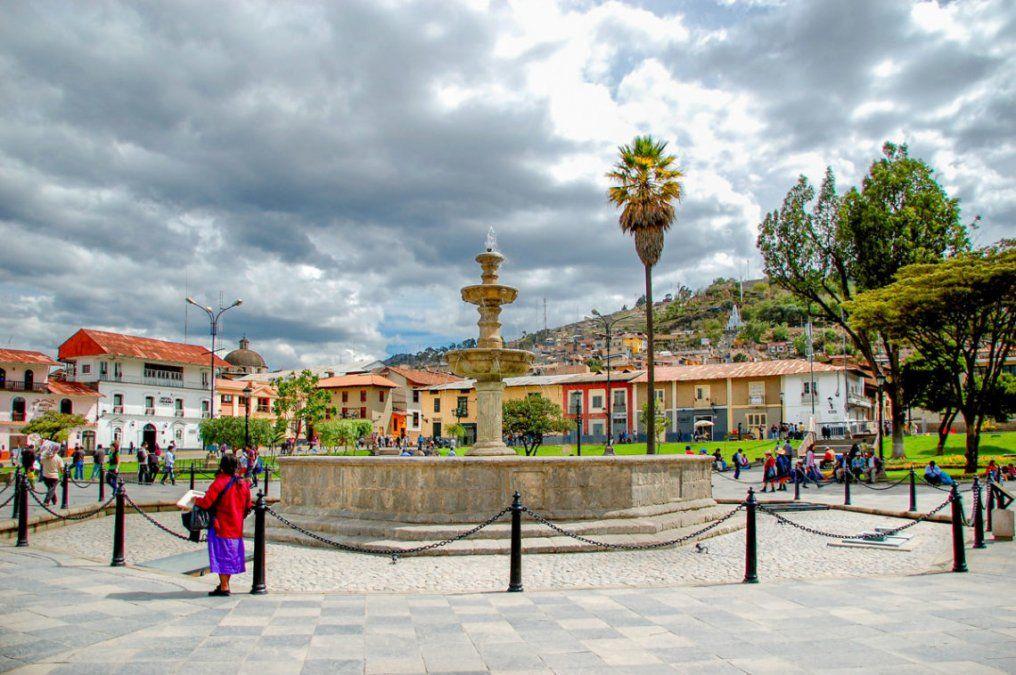 La Plaza de Armas de Cajamarca.