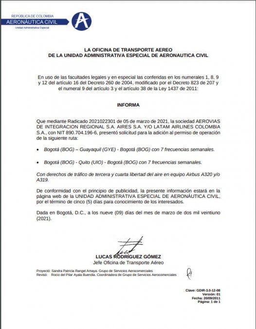 Comunicado de la Aeronáutica de Colombia sobre el pedido de Latam.