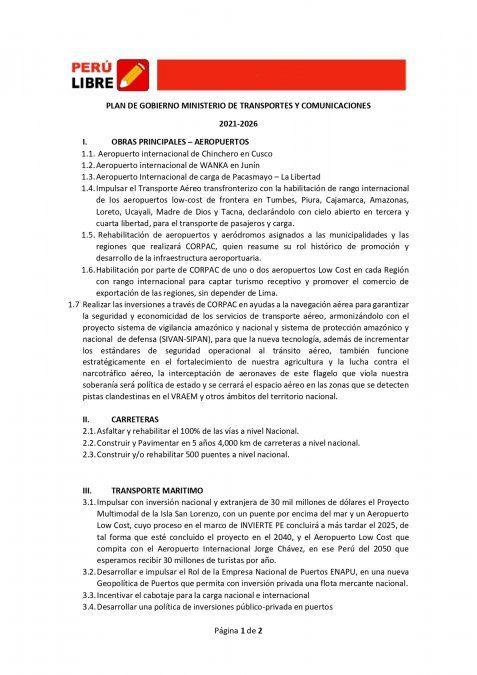 Detalle del plan de gobierno de Pedro Castillo, candidato de Perú Libre para el Ministerio de Transporte y Comunicaciones.