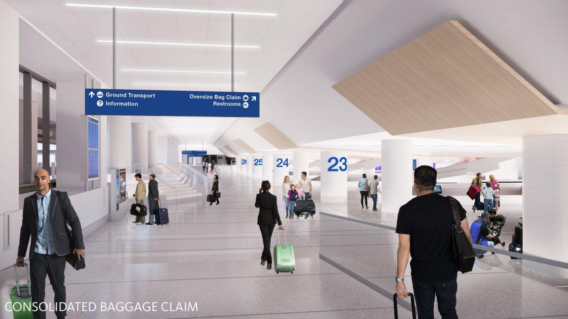 Delta Sky Way: render del sector de retiro de equipajes.