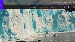 Así luce la home del nuevo portal de Visit Argentina.