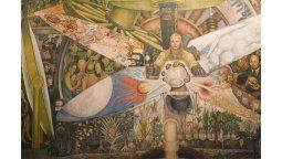 """El Hombre controlador del Universo"""", la polémica obra que Diego Rivera realizó en el Rockefeller Center de Nueva York y que fuera destruida por sus detractores, exhibe aquí, una segunda versión."""