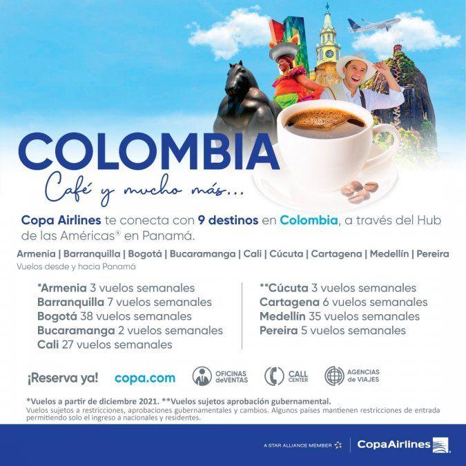 Las frecuencias de la nueva ruta de Copa Airlines.