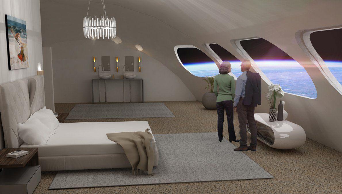 Una habitación con vista al espacio.