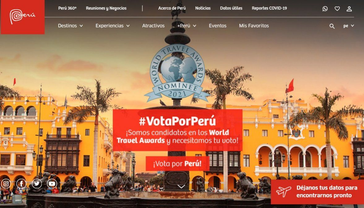 PromPerú anunció que la página web Peru.travel está nominada en los World Travel Awards como mejor página web de turismo.