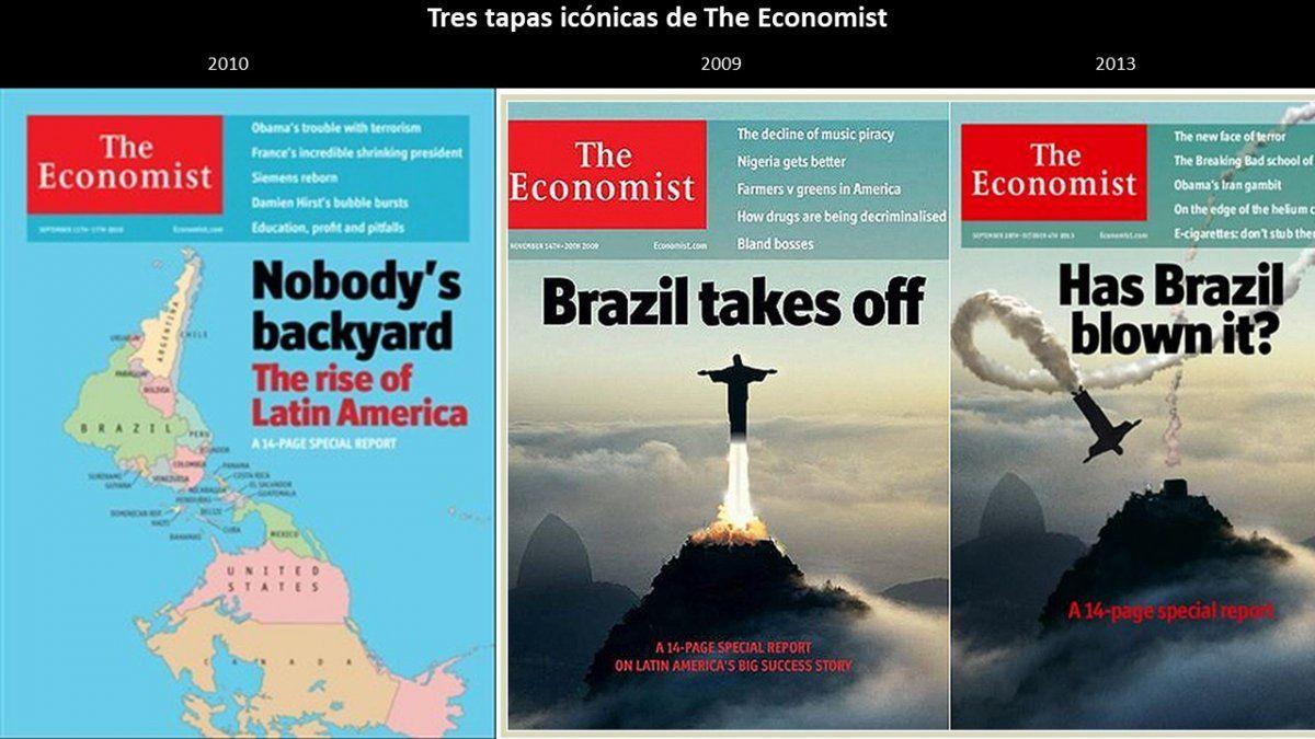 Tres portadas de The Economist que ilustran el cambio de percepción sobre Latinoamérica.