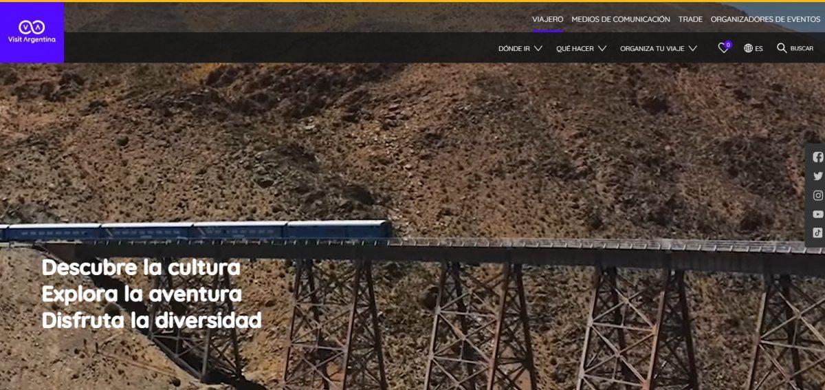 El sitio web de Argentina promueve la oferta turística del país en todo el mundo.