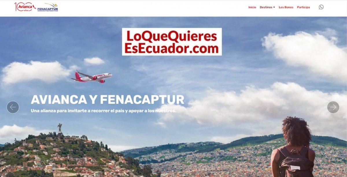 La página oficial de la iniciativa para incentivar el turismo nacional es www.loquequieresesecuador.com