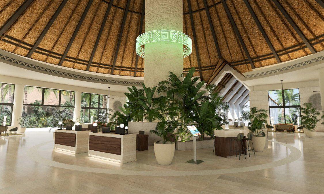 El renovado lobby del Bahia Principe Grand Tulum.