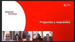 Panelistas del webinar Viajemos Seguros, organizado por PromPerú y Mincetur de Perú.