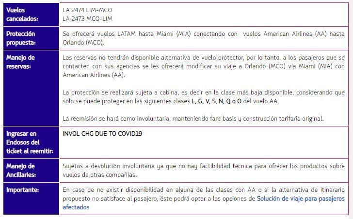 LATAM suspende vuelos entre Lima y Orlando