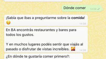 Información turística de Buenos Aires a través del WhatsApp