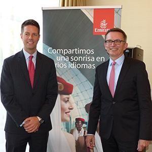 EMIRATES. La aerolínea presentó a su representante en Chile