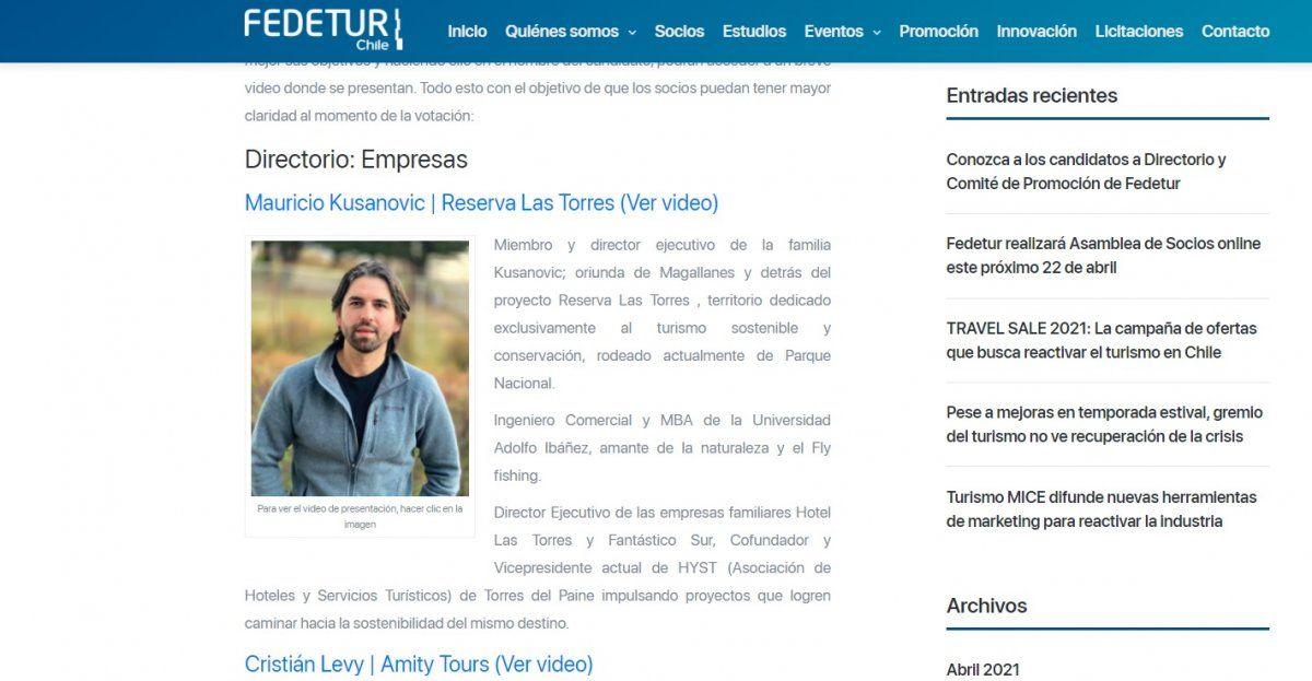 Los perfiles de lis postulantes están disponibles en la web de Fedetur.