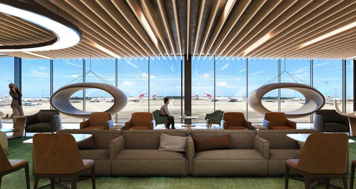 Render del Plaza Premium Lounge a inaugurarse en el Aeropuerto de San Pablo-Guarulhos.