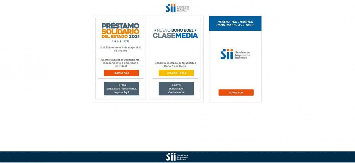 El Préstamo Solidario se solicita a través de la página de Servicio de Impuestos Internos.