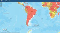 """Argentina, Bolivia, Colombia, Chile, Brasil, Paraguay, Venezuela y Uruguay continúan en el nivel 4 de """"alertas de viajes"""" que elabora el Departamento de Estado de Estados Unidos."""