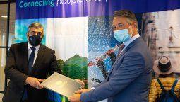Zurab Pololikashvili, secretario general de la OMT; y Jean-Philippe Monod, Global SVP de Government Affairs de Expedia Group.