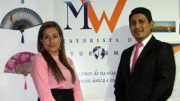Mónica Osorio y Wilmer Constante, directivos de MW Turismo