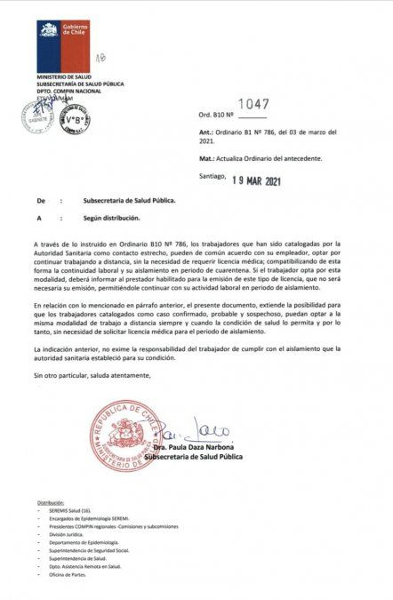 El documento está firmado por la subsecretaria Paula Daza